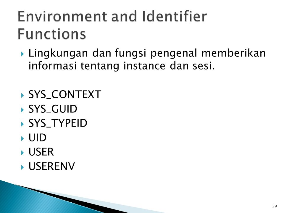 Environment and Identifier Functions