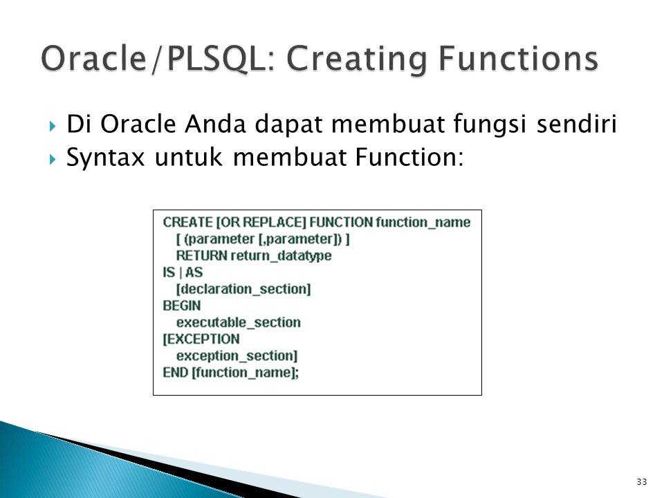 Oracle/PLSQL: Creating Functions