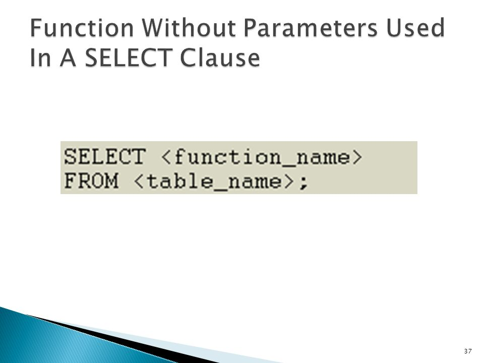 Function Without Parameters Used In A SELECT Clause