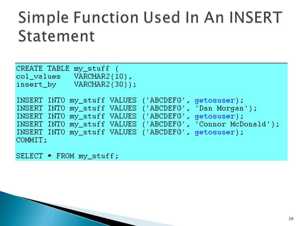 Simple Function Used In An INSERT Statement