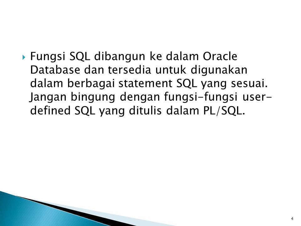 Fungsi SQL dibangun ke dalam Oracle Database dan tersedia untuk digunakan dalam berbagai statement SQL yang sesuai.