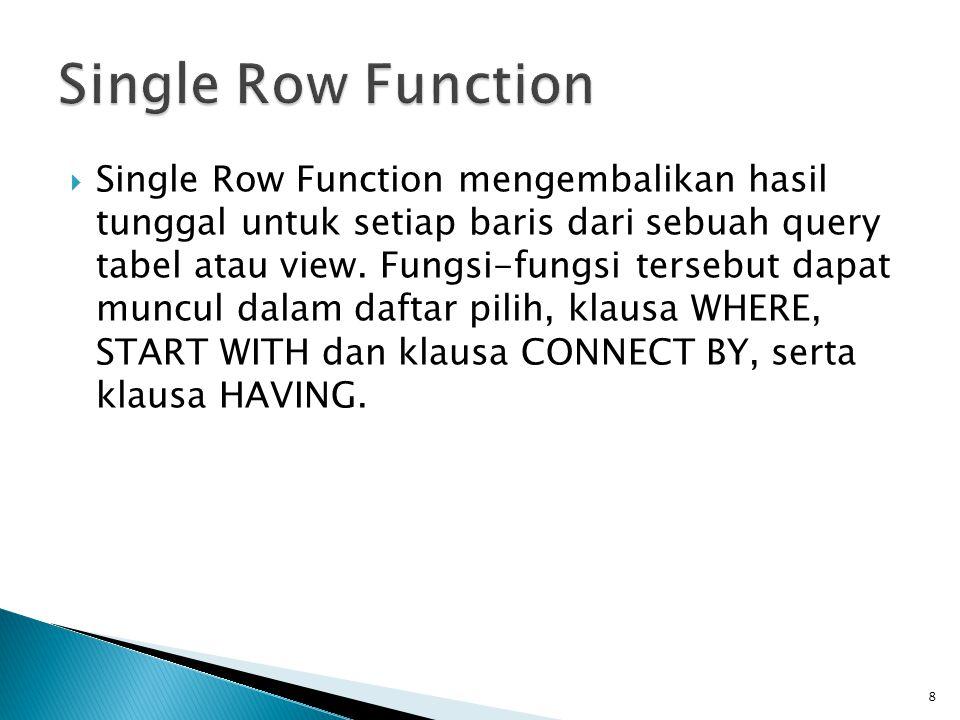 Single Row Function
