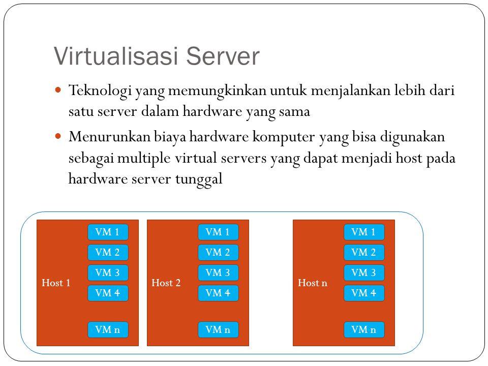 Virtualisasi Server Teknologi yang memungkinkan untuk menjalankan lebih dari satu server dalam hardware yang sama.