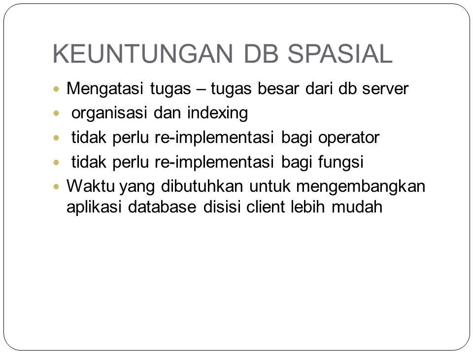 KEUNTUNGAN DB SPASIAL Mengatasi tugas – tugas besar dari db server