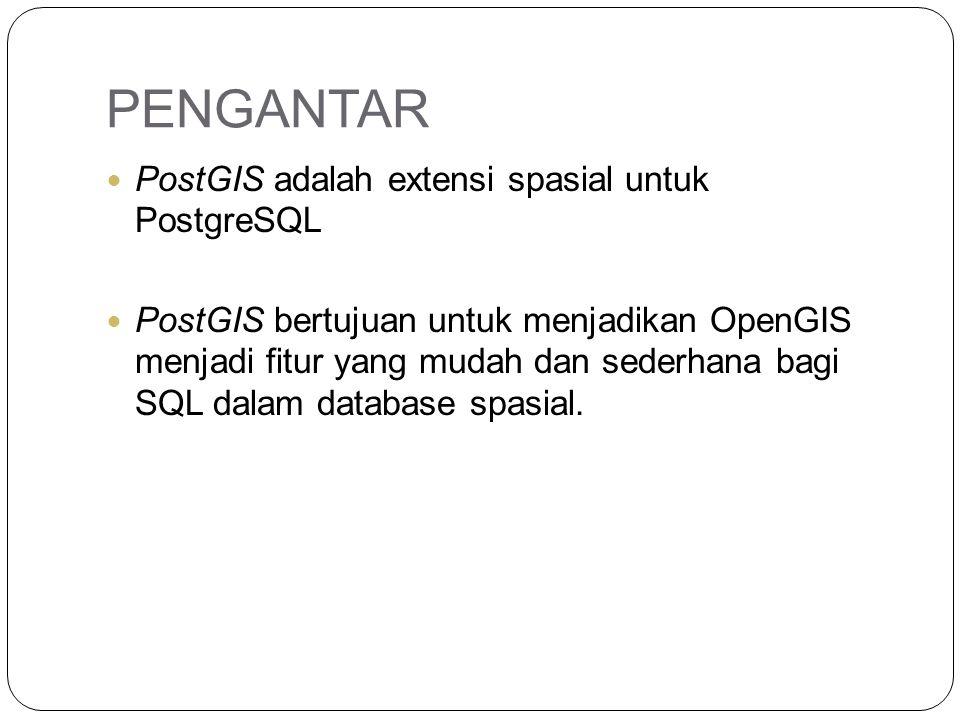 PENGANTAR PostGIS adalah extensi spasial untuk PostgreSQL