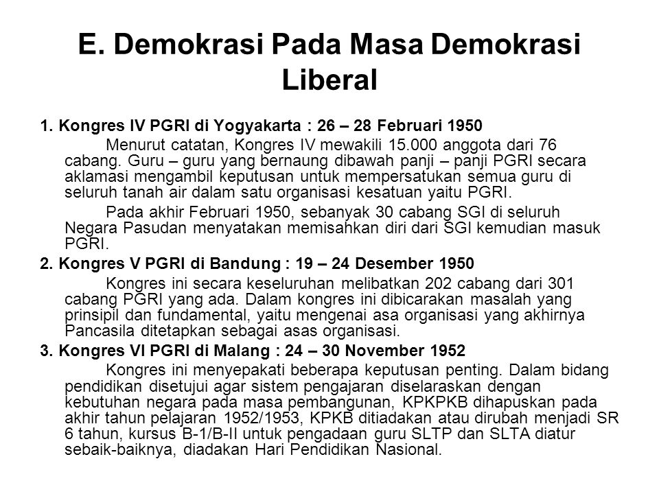 E. Demokrasi Pada Masa Demokrasi Liberal