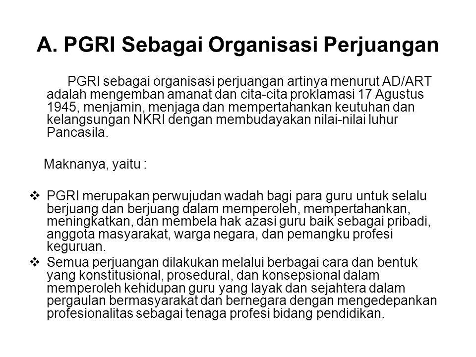 A. PGRI Sebagai Organisasi Perjuangan