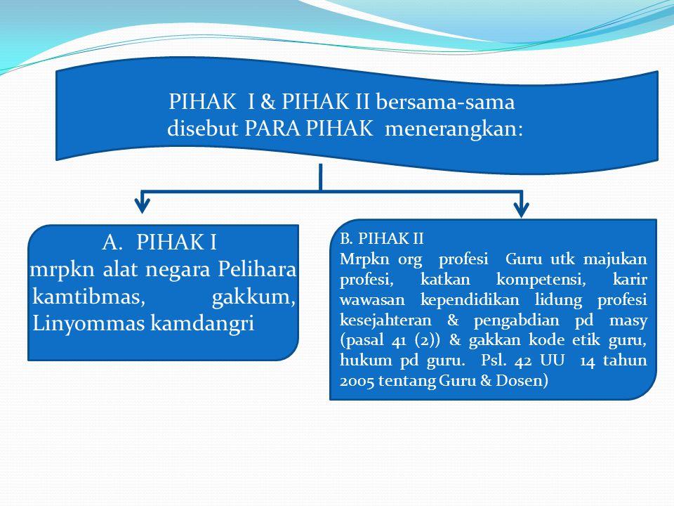 PIHAK I & PIHAK II bersama-sama disebut PARA PIHAK menerangkan: