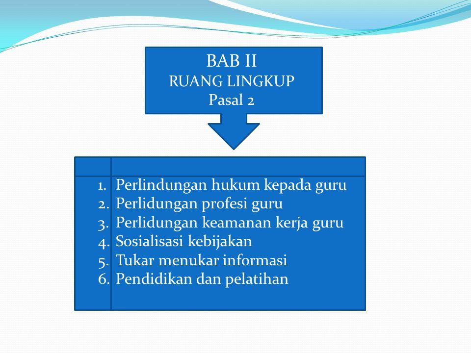 BAB II RUANG LINGKUP Pasal 2 Perlindungan hukum kepada guru