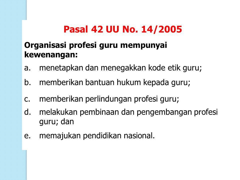 Pasal 42 UU No. 14/2005 Organisasi profesi guru mempunyai kewenangan: