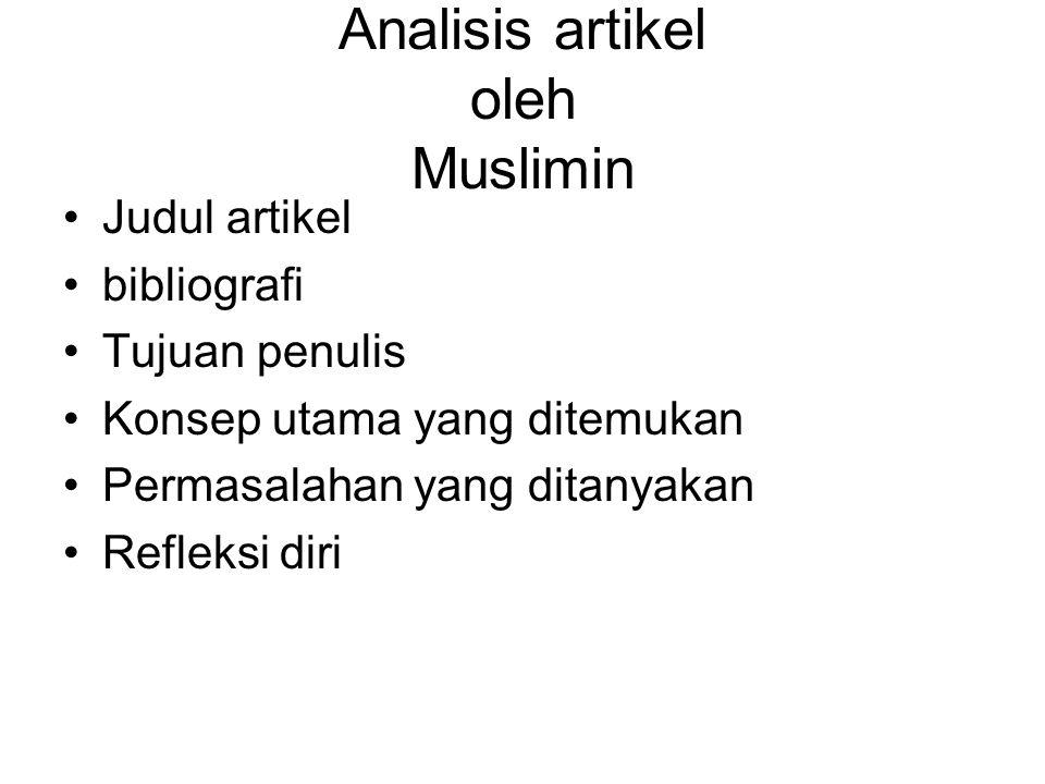 Analisis artikel oleh Muslimin