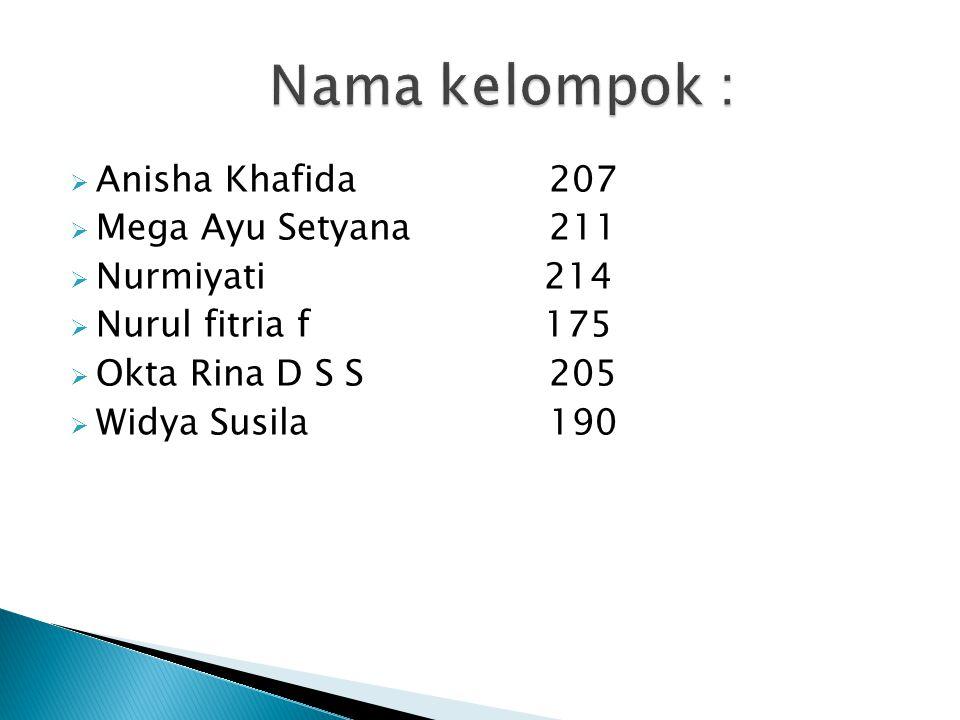 Nama kelompok : Anisha Khafida 207 Mega Ayu Setyana 211 Nurmiyati 214