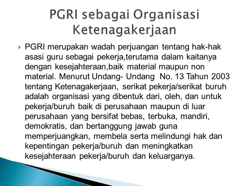 PGRI sebagai Organisasi Ketenagakerjaan