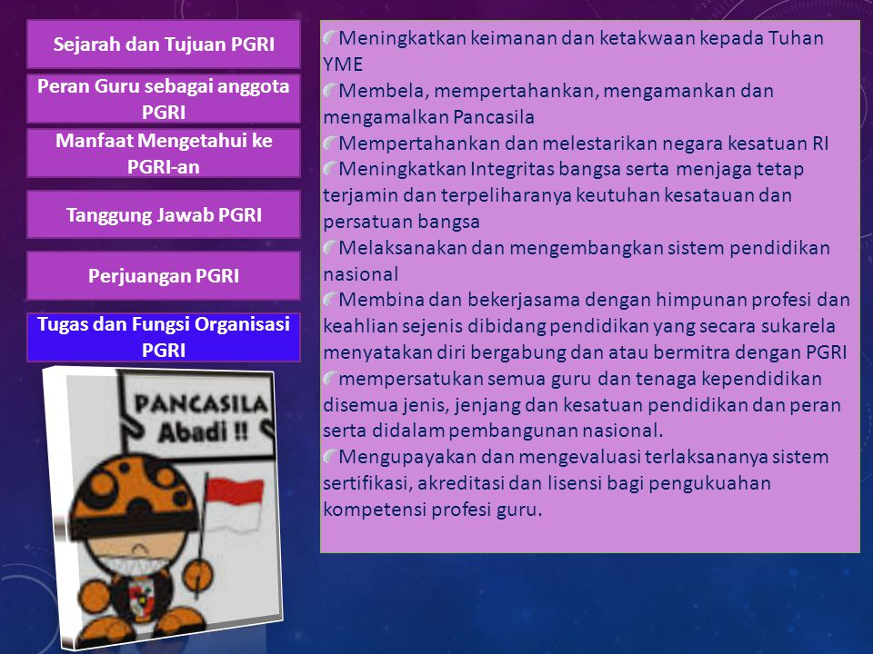 Tugas dan Fungsi Organisasi PGRI