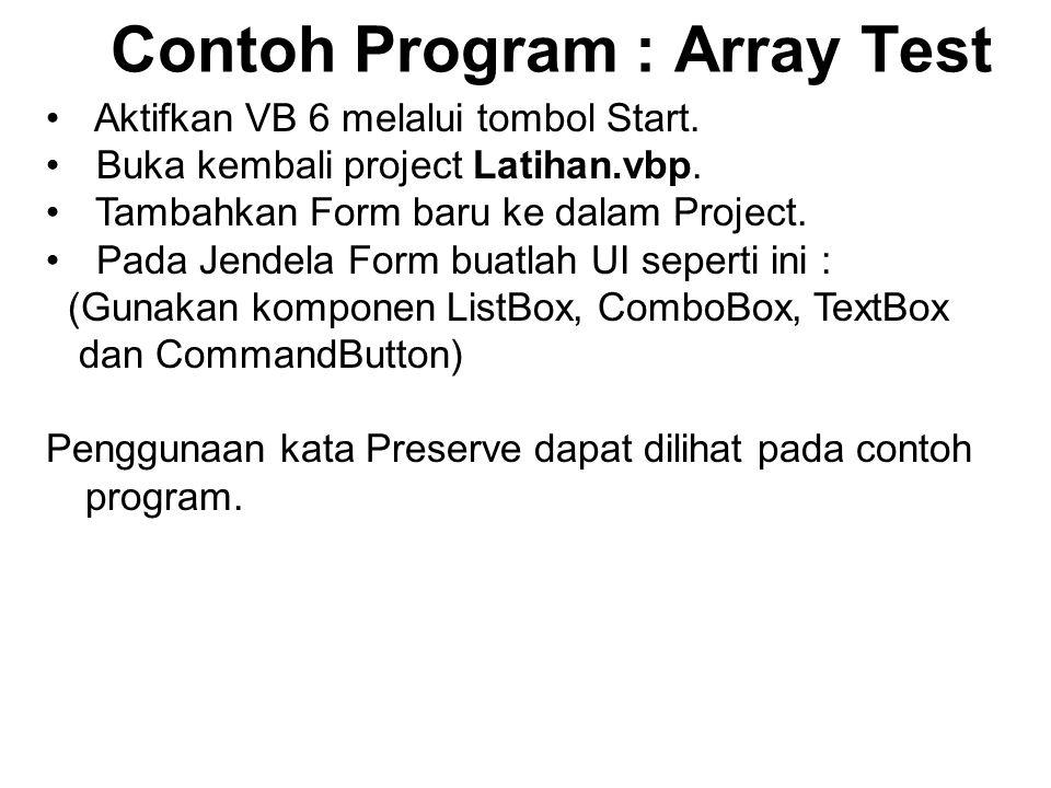 Contoh Program : Array Test