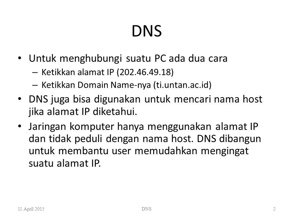 DNS Untuk menghubungi suatu PC ada dua cara