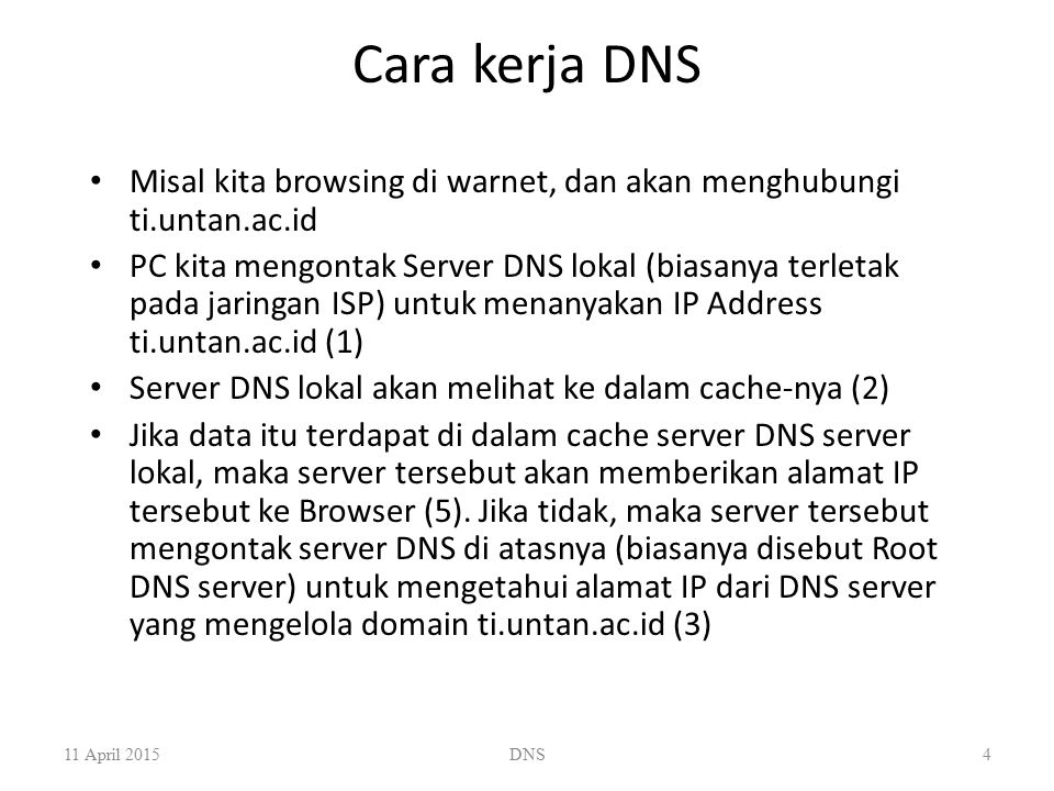 Cara kerja DNS Misal kita browsing di warnet, dan akan menghubungi ti.untan.ac.id.
