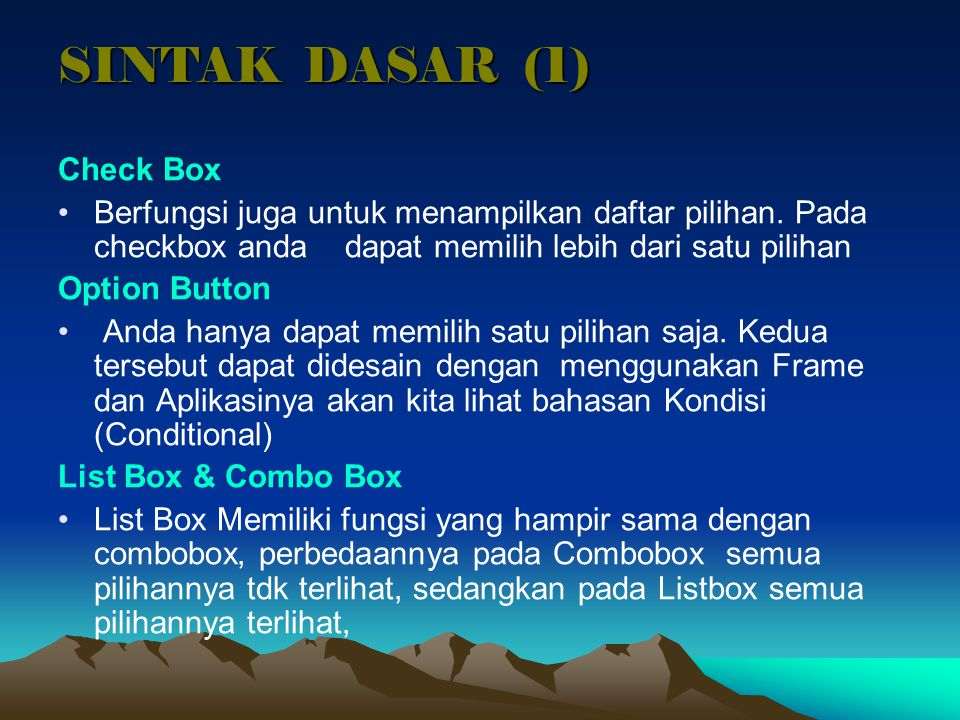 SINTAK DASAR (1) Check Box