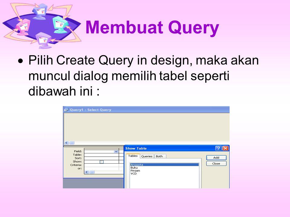 Membuat Query Pilih Create Query in design, maka akan muncul dialog memilih tabel seperti dibawah ini :