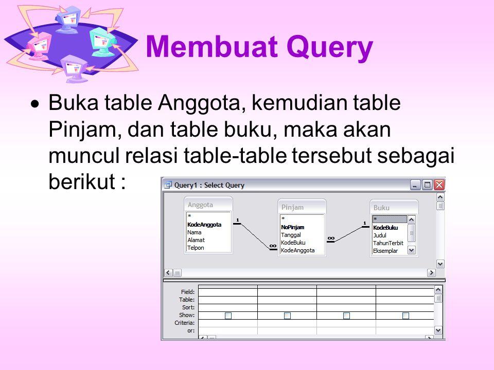 Membuat Query Buka table Anggota, kemudian table Pinjam, dan table buku, maka akan muncul relasi table-table tersebut sebagai berikut :