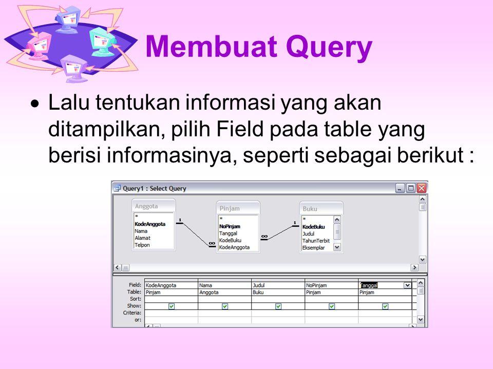 Membuat Query Lalu tentukan informasi yang akan ditampilkan, pilih Field pada table yang berisi informasinya, seperti sebagai berikut :