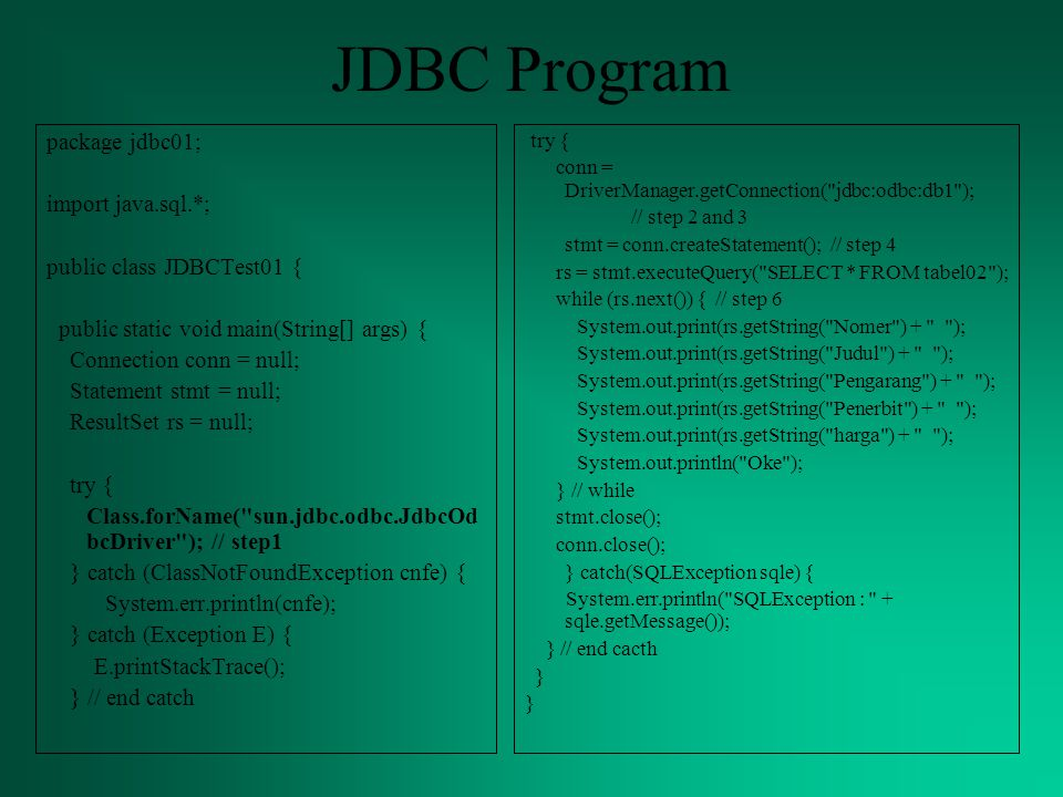 JDBC Program package jdbc01; import java.sql.*;