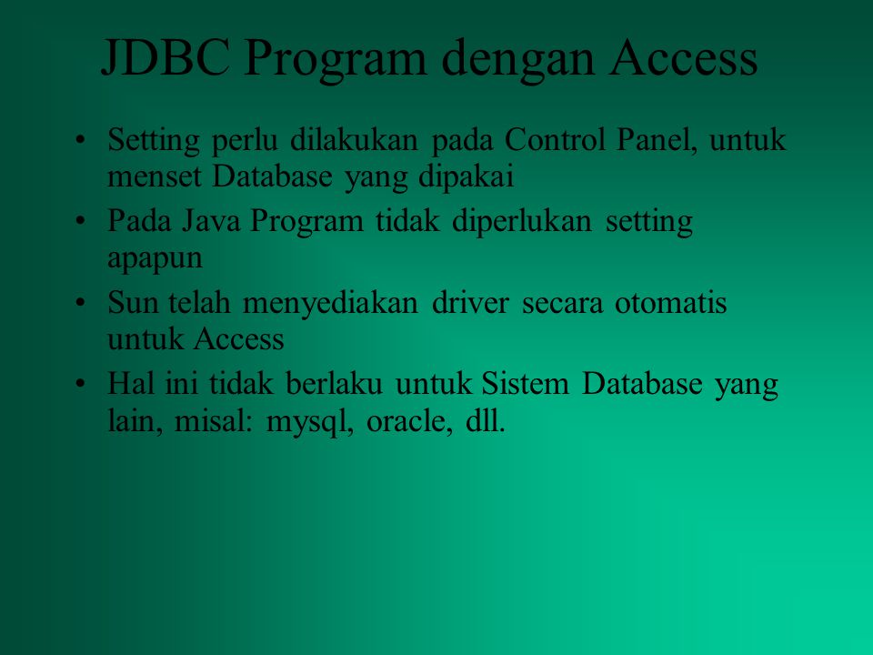 JDBC Program dengan Access