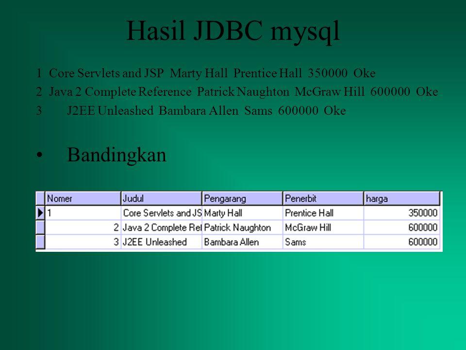 Hasil JDBC mysql Bandingkan