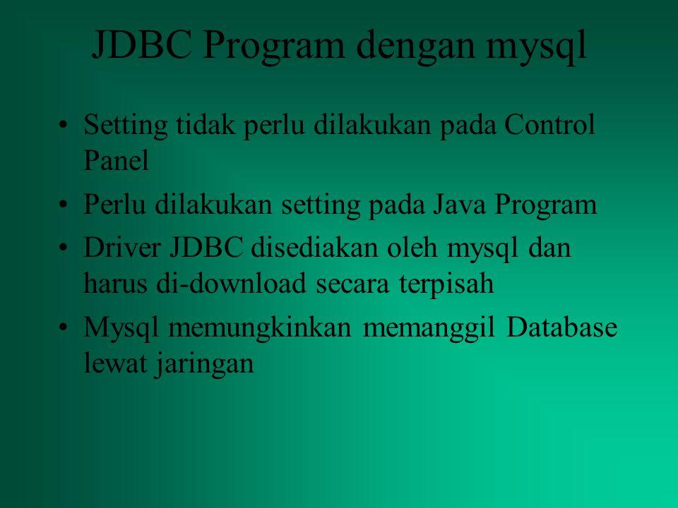 JDBC Program dengan mysql