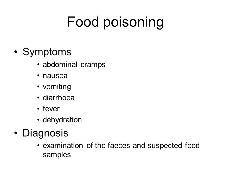 Food poisoning Symptoms Diagnosis abdominal cramps nausea vomiting