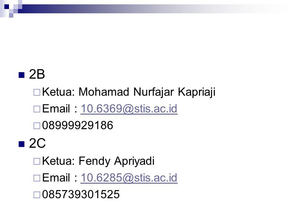 2B 2C Ketua: Mohamad Nurfajar Kapriaji Email : 10.6369@stis.ac.id