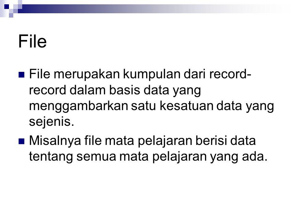 File File merupakan kumpulan dari record-record dalam basis data yang menggambarkan satu kesatuan data yang sejenis.