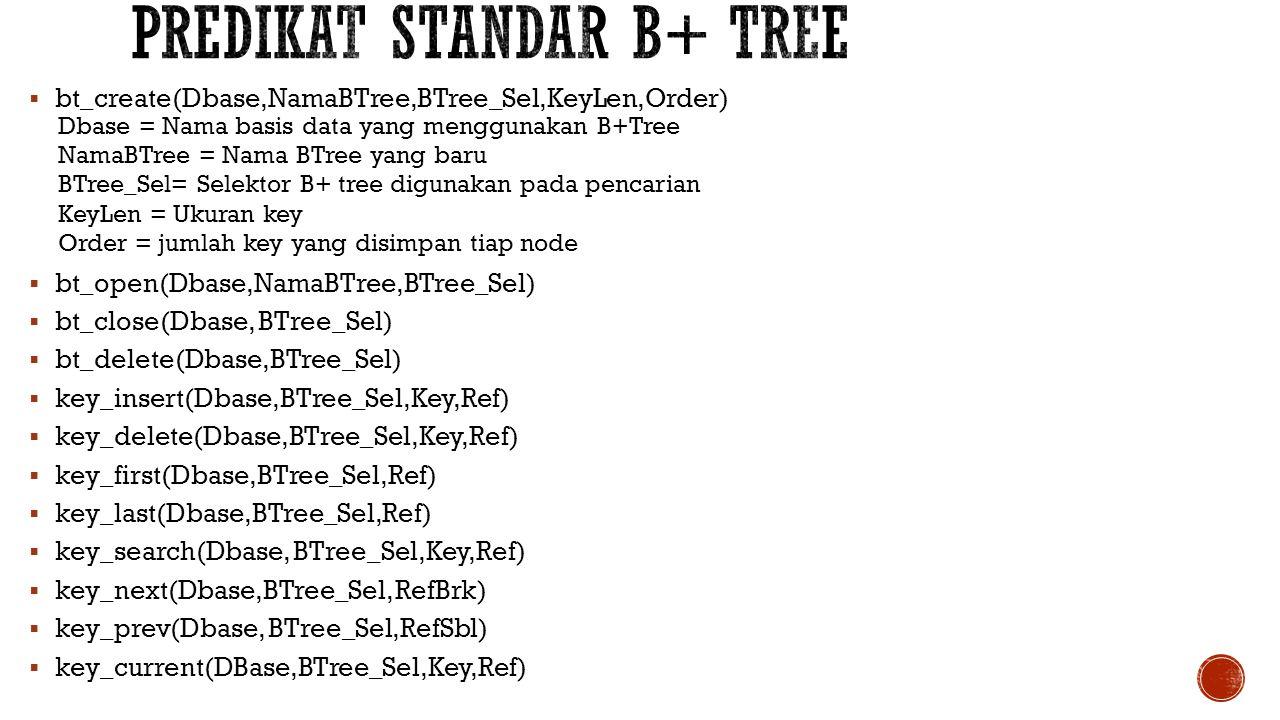 Predikat standar b+ tree