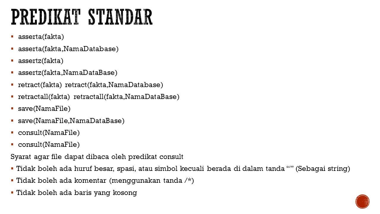 Predikat standar asserta(fakta) asserta(fakta,NamaDatabase)