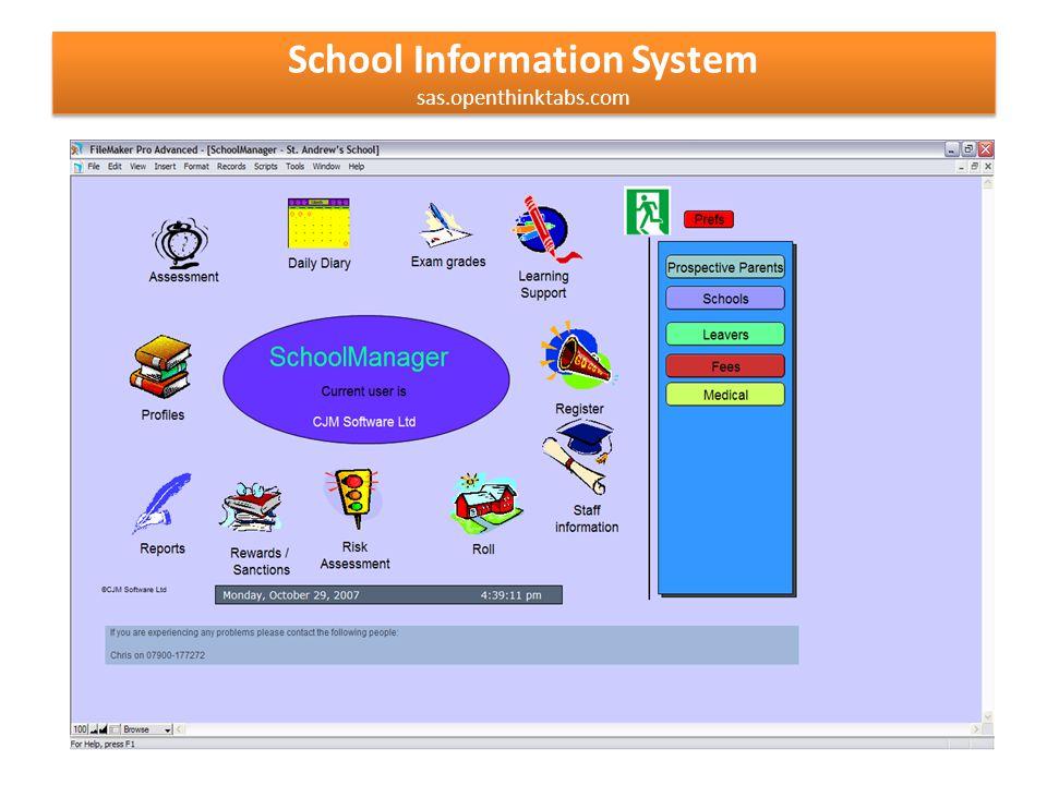 School Information System sas.openthinktabs.com