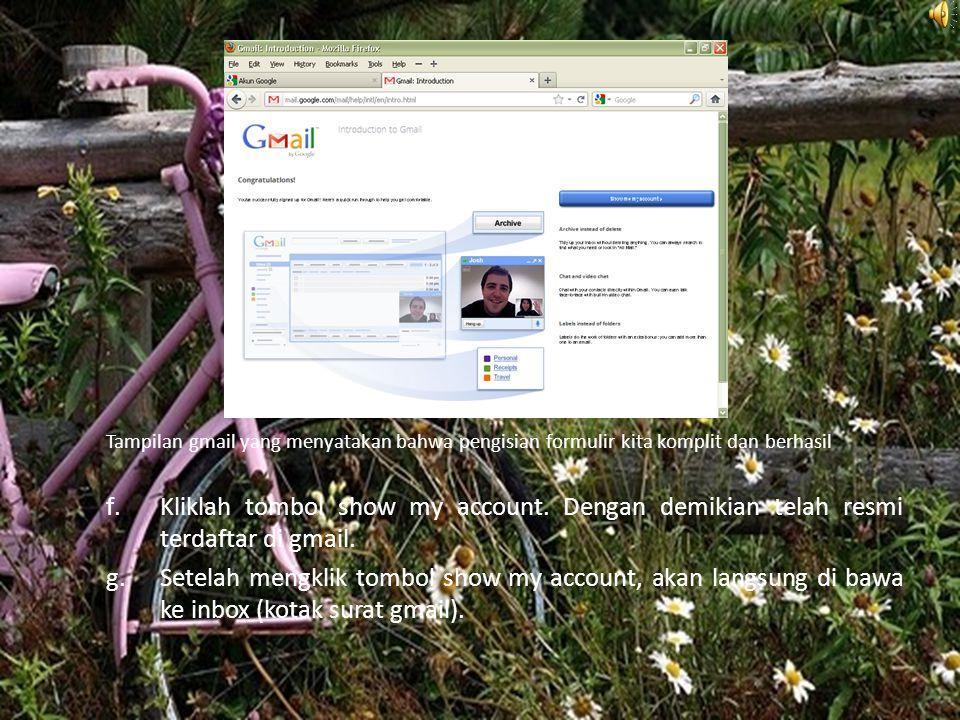 Tampilan gmail yang menyatakan bahwa pengisian formulir kita komplit dan berhasil