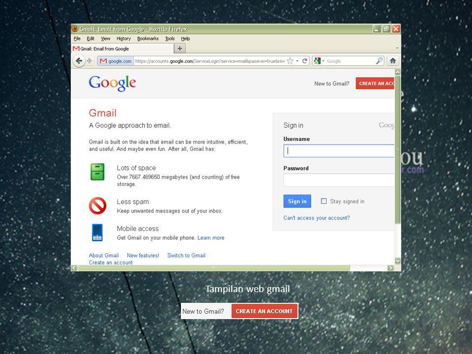 Tampilan web gmail