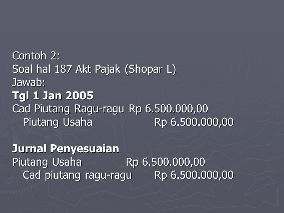 Contoh 2: Soal hal 187 Akt Pajak (Shopar L) Jawab: Tgl 1 Jan 2005. Cad Piutang Ragu-ragu Rp 6.500.000,00.
