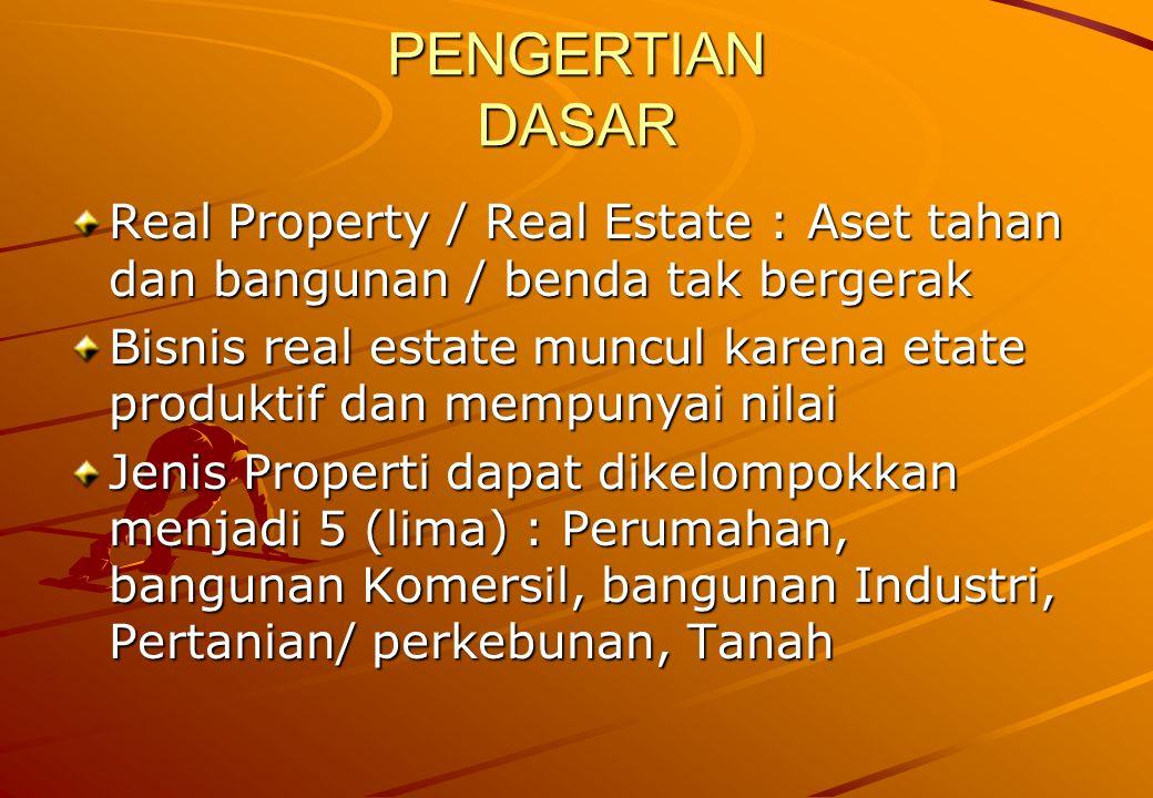 PENGERTIAN DASAR Real Property / Real Estate : Aset tahan dan bangunan / benda tak bergerak.