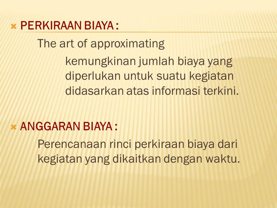 PERKIRAAN BIAYA : The art of approximating. kemungkinan jumlah biaya yang diperlukan untuk suatu kegiatan didasarkan atas informasi terkini.