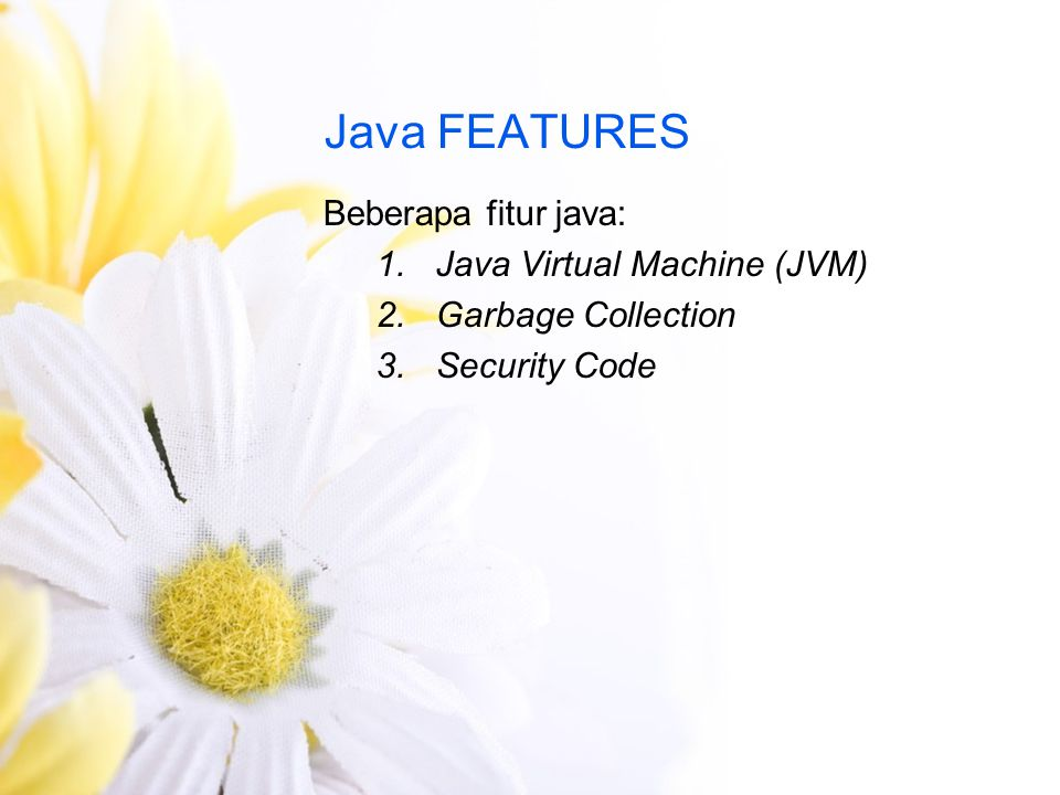 Java FEATURES Beberapa fitur java: Java Virtual Machine (JVM)
