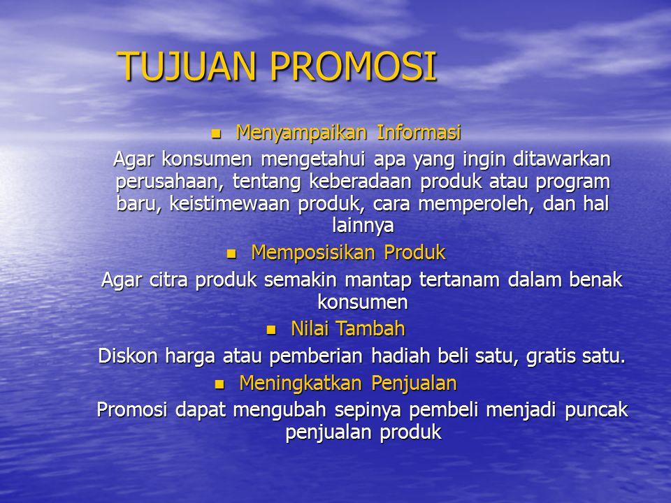 TUJUAN PROMOSI Menyampaikan Informasi
