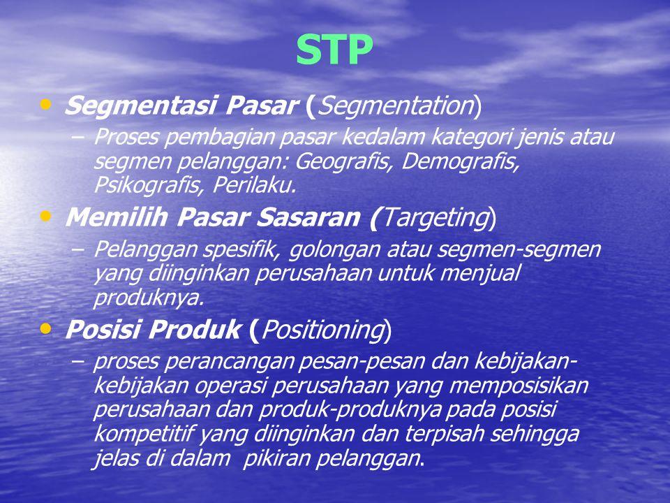 STP Segmentasi Pasar (Segmentation) Memilih Pasar Sasaran (Targeting)