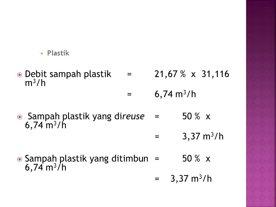 Debit sampah plastik = 21,67 % x 31,116 m3/h = 6,74 m3/h