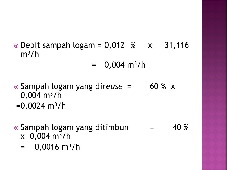 Debit sampah logam = 0,012 % x 31,116 m3/h
