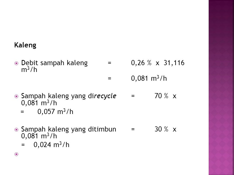Kaleng Debit sampah kaleng = 0,26 % x 31,116 m3/h. = 0,081 m3/h. Sampah kaleng yang direcycle = 70 % x 0,081 m3/h.