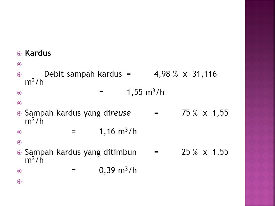 Kardus Debit sampah kardus = 4,98 % x 31,116 m3/h. = 1,55 m3/h. Sampah kardus yang direuse = 75 % x 1,55 m3/h.