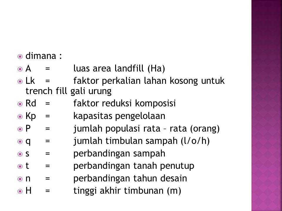 dimana : A = luas area landfill (Ha) Lk = faktor perkalian lahan kosong untuk trench fill gali urung.