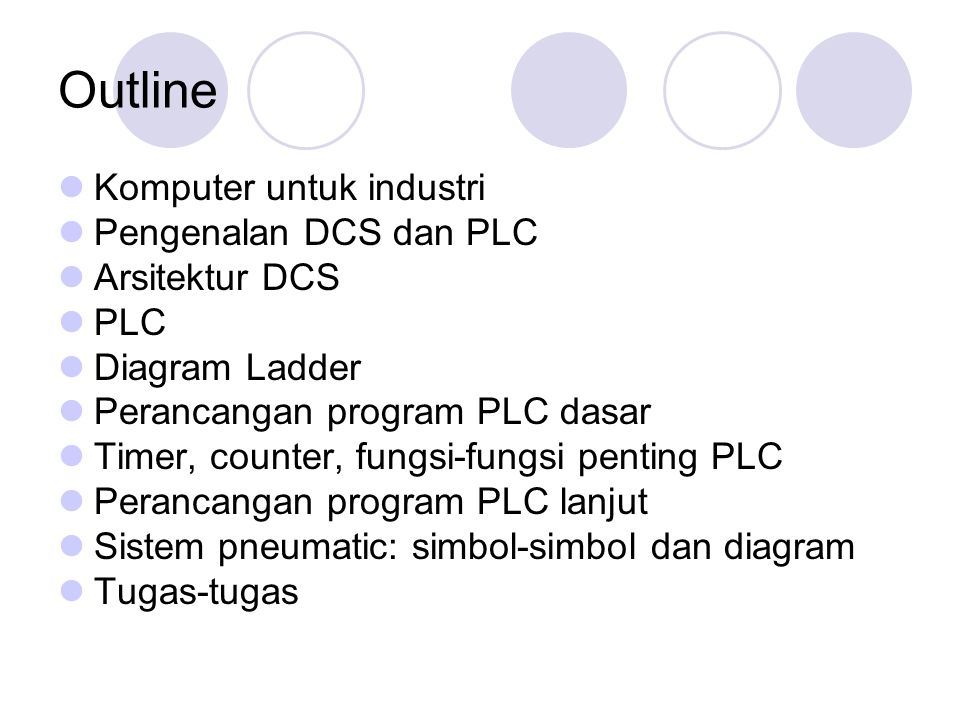 Outline Komputer untuk industri Pengenalan DCS dan PLC Arsitektur DCS
