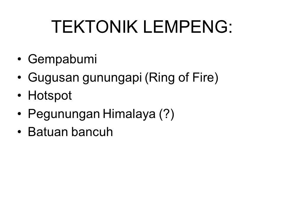 TEKTONIK LEMPENG: Gempabumi Gugusan gunungapi (Ring of Fire) Hotspot